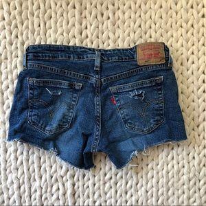 Levi's Distressed Ripped Jean Denim Shorts